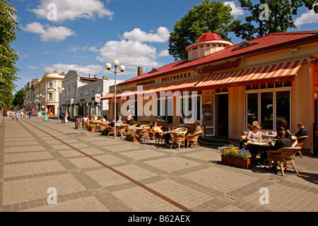 Street cafe in the pedestrian area Jomas iela in Jurmala, Latvia, Baltic Countries - Stock Photo
