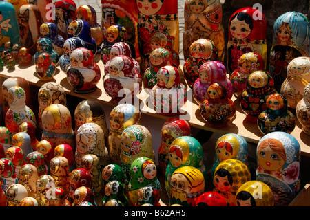 Matrjoschkas, also doll in the doll, Russian doll or falsely Babuschka, Riga, Latvia, Baltic region, Europe - Stock Photo