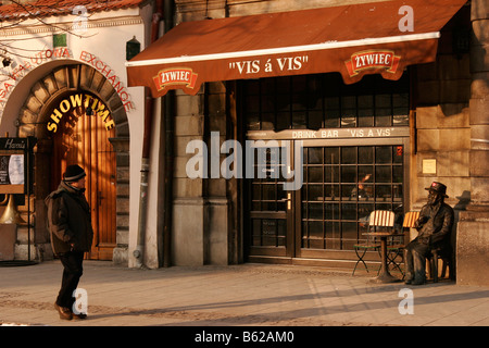 Front of a bar on the main market Rynek Glówny in Krakow, Poland, Europe - Stock Photo