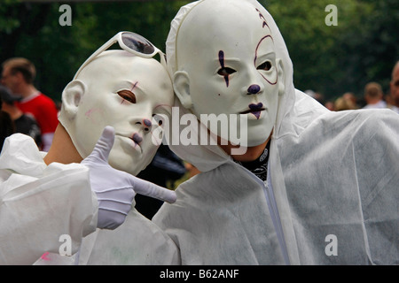 Futuristic masked ravers during the Highway to Love 2008 Love Parade in Dortmund, North Rhine-Westphalia, Germany, - Stock Photo