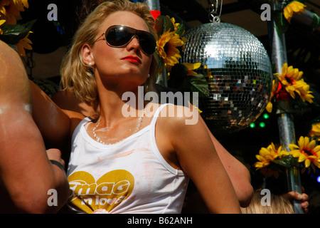 Gogo dancer during the Highway to Love 2008 Love Parade in Dortmund, North Rhine-Westphalia, Germany, Europe - Stock Photo