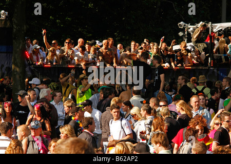 Techno fans during the Highway to Love 2008 Love Parade in Dortmund, North Rhine-Westphalia, Germany, Europe - Stock Photo