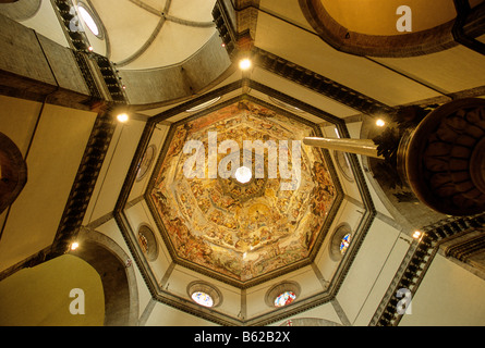 Ceiling fresco The Last Judgement by Giogio Vasari, cupola inside, Basilica di Santa Maria del Fiore, Florence, - Stock Photo