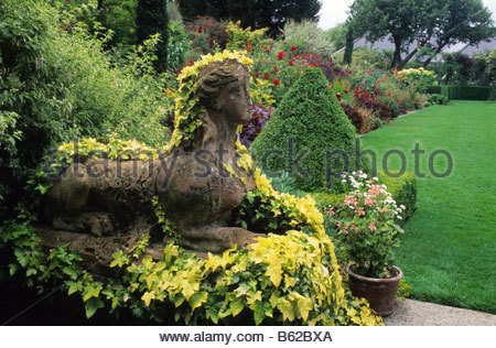 ... The Dillon Garden Dublin Ireland Large Town Suburban Garden Stone Sphinx  Statue Covered With Hedera Helix