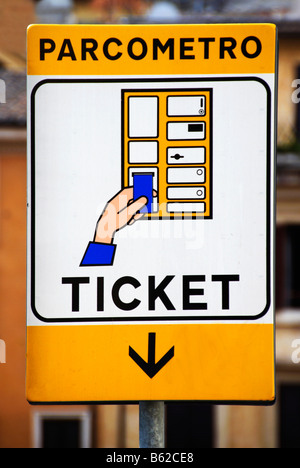 Parcometro ticket, parking meter sign, Rome, Italy, Europe - Stock Photo