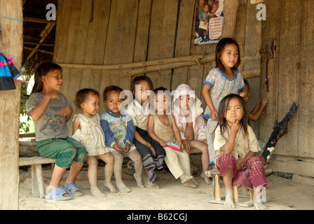 Children living in poverty, Hmong People village, near Luang Prabang, Laos, Southeast Asia - Stock Photo
