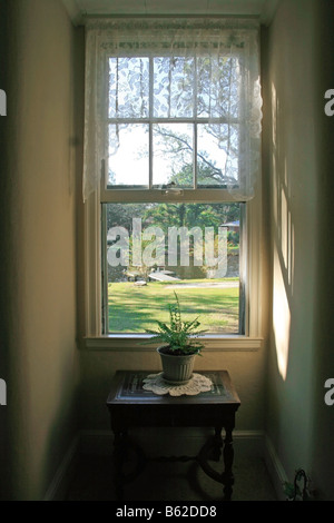 calming morning look out sun streaming in a lace curtain window looking out at water & a dock - Stock Photo