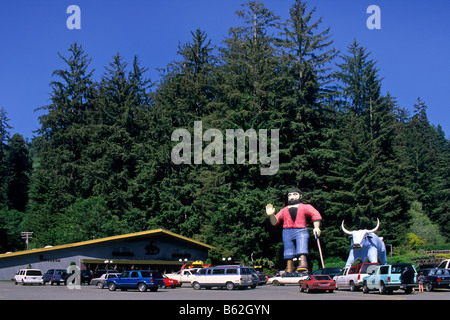 Statue of Paul Bunyan and Babe the Blue Ox Trees of Mystery Del Norte County California - Stock Photo