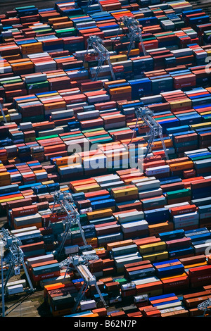 Holland, Zuid Holland, Rotterdam, Harbour, Aerial of Container port. - Stock Photo