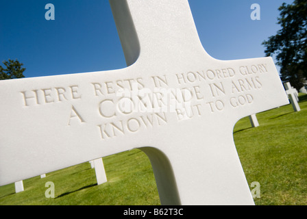 Grave of an unknown soldier at the Normandy American Cemetery, France - Stock Photo