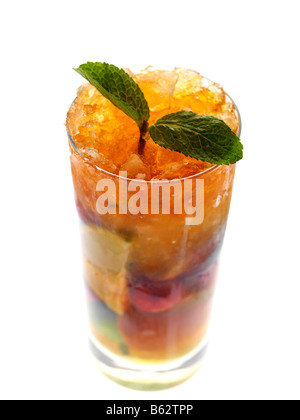 Fresh Prepared Raspberry Mojito Cocktail Drink Isolated Again A White Background With No People And A Clipping Path - Stock Photo