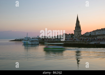 Old Prison Tower seen across the harbour entrance at La Rochelle Charente Maritime France - Stock Photo