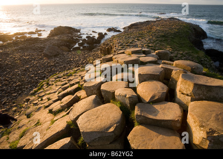 Causeway steps: Hexagonal columns of basalt glow in the afternoon sun as they step down toward the crashing waves - Stock Photo
