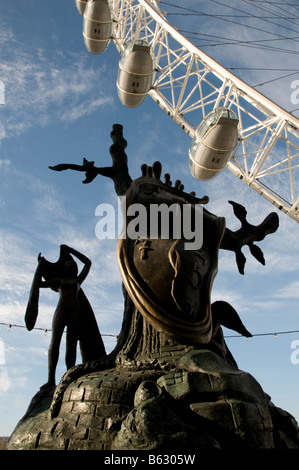 The Nobility of Time by Salvador Dalí with London Eye in the background, outside Dalí Universe, County Hall Gallery, - Stock Photo