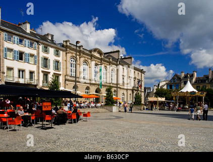 The town centre in Quimper Brittany France showing street cafe and the town hall and Musee des Beaux-Arts - Stock Photo