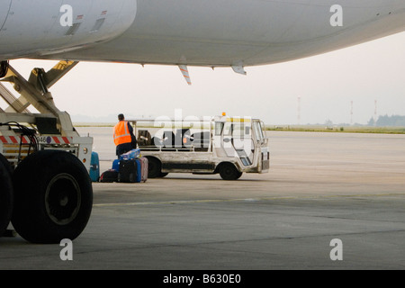 Rear view of a man unloading luggage from truck, Paris, Ile-de-France, France - Stock Photo
