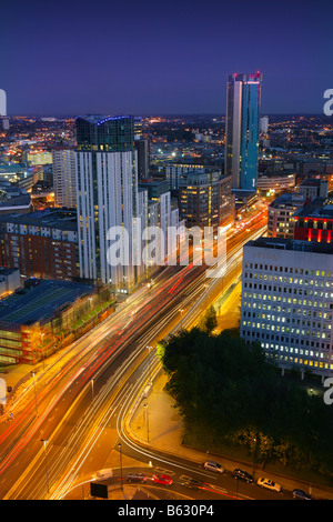 Birmingham City Centre at night showing Beethan Tower and the Orion Building - Stock Photo