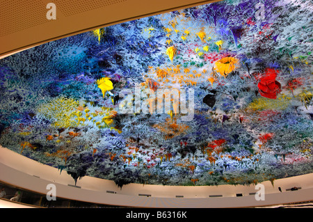 Ceiling sculpture by Miquel Barceló in the Human Rights and Alliance of Civilization room, Palais des Nations Geneva - Stock Photo