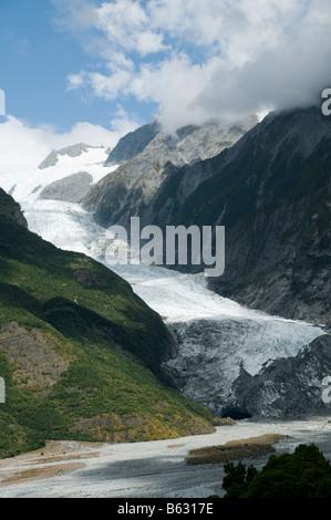 The Franz Josef glacier, South Island, New Zealand - Stock Photo