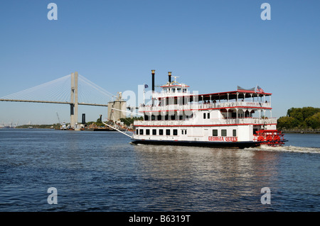 Savannah River Georgia America USA Riverboat Savannah Queen underway on a tourist cruise. - Stock Photo