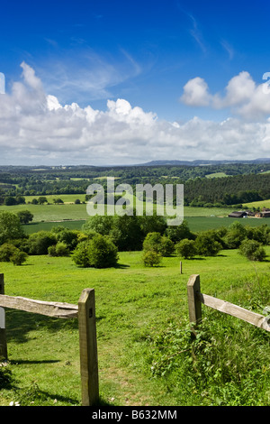 Surrey Hills UK - English Countryside - North Downs Way looking toward the South Downs, Newlands Corner, Surrey - Stock Photo