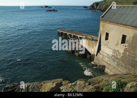The Old Lifeboat House and Slipway The Lizard Cornwall UK - Stock Photo