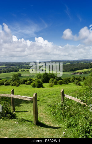 Looking towards Sussex across the Surrey Weald from the North Downs Way in the Surrey Hills, England, UK - Stock Photo