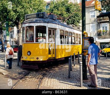 tramway in the Rua da Graca Electrico Lisboa Lisbon Portugal - Stock Photo