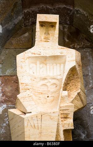 Statue of Saint George, Montserrat Basilica and Monastery, Montserrat, near Barcelona, Spain - Stock Photo