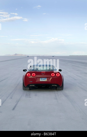 The start of Bonneville Salt flats trying to set a new record in a Corvette ZR1 22 9 08 - Stock Photo