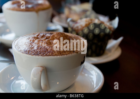 Cup of hot chocolate in English coffee shop Derbyshire England UK - Stock Photo