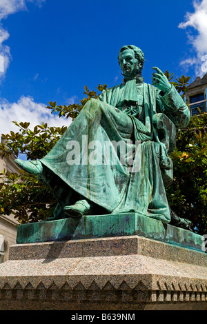 Statue of René-Théophile-Hyacinthe Laennec in Quimper, Brittany, a French physician who invented the stethoscope - Stock Photo