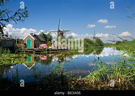Netherlands Zuid Holland Kinderdijk Windmills Unesco World Heritage Site - Stock Photo