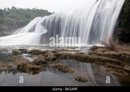 China Guizhou Province A waterfall at Huangguoshu - Stock Photo