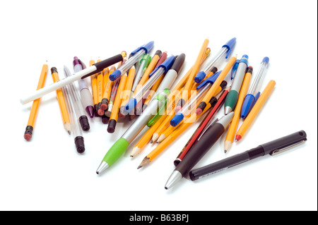 pile of mixed pencils and pens - Stock Photo