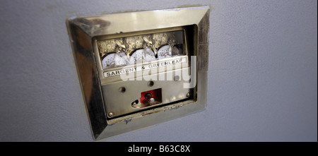 A Sargent & Greenleaf combination lock on a large bank vault in London. - Stock Photo