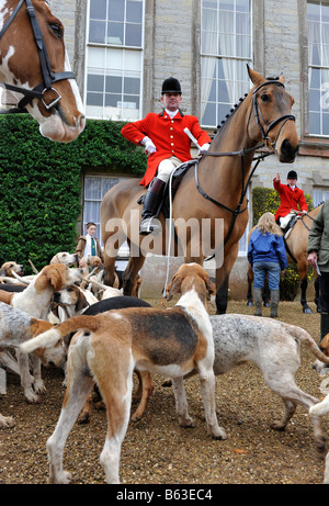 The Croome and West Warwickshire  hunt at a meeting at Ragley Hall in Warwickshire. The Foxhounds and Master of - Stock Photo