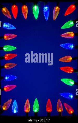 LED Christmas lights around the frame - Stock Photo