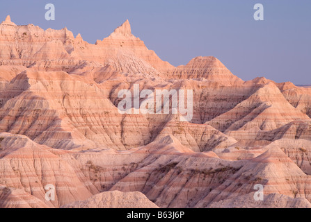badland formations, Badlands National Park, South Dakota - Stock Photo