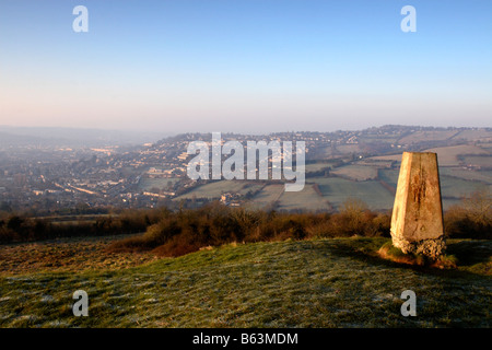 View towards Bath from Little Solsbury Hill, North-East Somerset, England, UK - Stock Photo