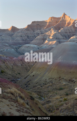 badland formations in Yellow Mounds area, Badlands National Park, South Dakota - Stock Photo