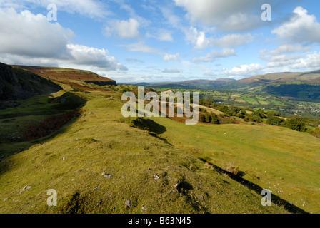 Llangattock escarpment in the autumn - Stock Photo