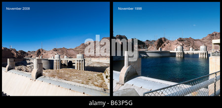 Lake Mead at the Hoover Dam showing the unprecedented low water levels in Nov 2008 compared to Nov 1998, Arizona - Stock Photo