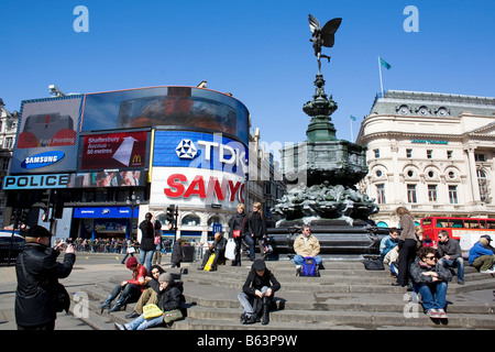 piccadilly circus london england statue - Stock Photo
