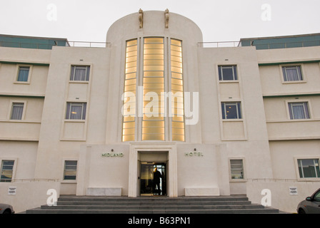 The main entrance to the Midland hotel in Morecambe - Stock Photo