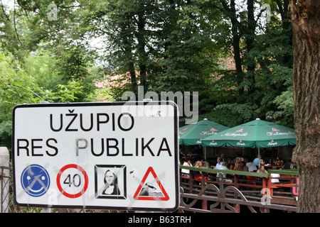 Sign at the border of Užupis, Vilnius, Lithuania - Stock Photo