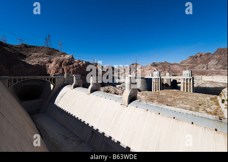 Lake Mead at the Hoover Dam showing the unprecedented low water levels, Arizona / Nevada, USA - Stock Photo