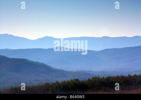 View of the Blue Ridge Mountains taken from the Parkway near the Blowing Rock entrance - Stock Photo