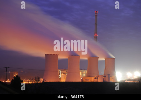 Night view on coal power station in Chvaletice, Czech Republic. - Stock Photo