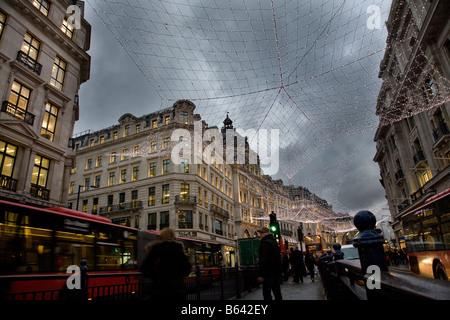 the christmas lights Regent Street London 2008 - Stock Photo